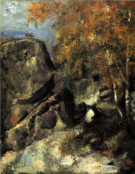 Skały w lesie Fountainebleau  - obraz  Cezanne