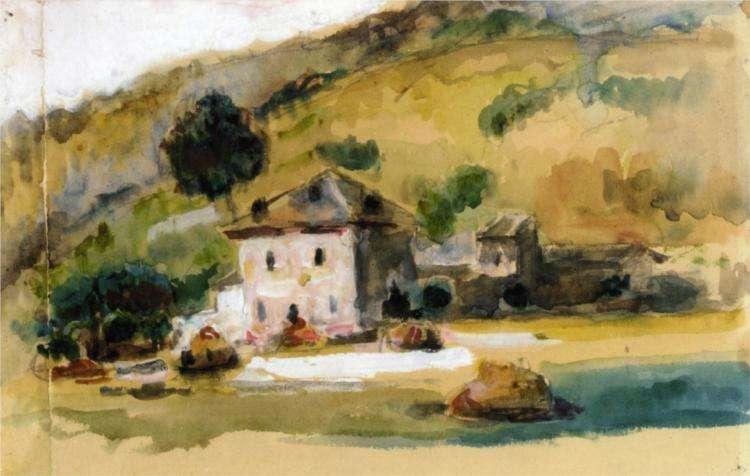 Akwarela Cezanne - W pobliżu Aix