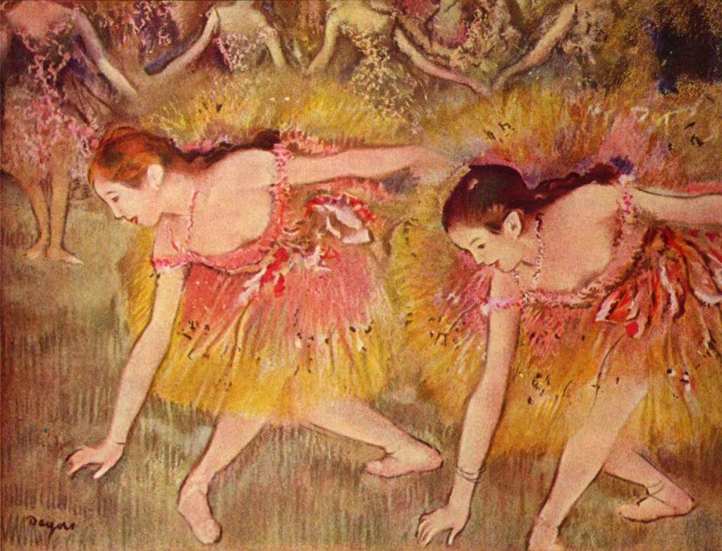 Dwie tancerki kłaniające się - Degas 1885