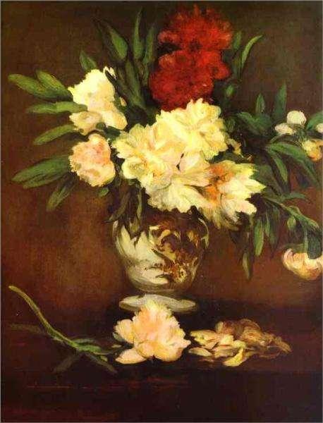 Piwonie w wazonie - obraz Maneta